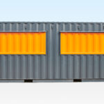 Profile view of container cafe with hatches closed