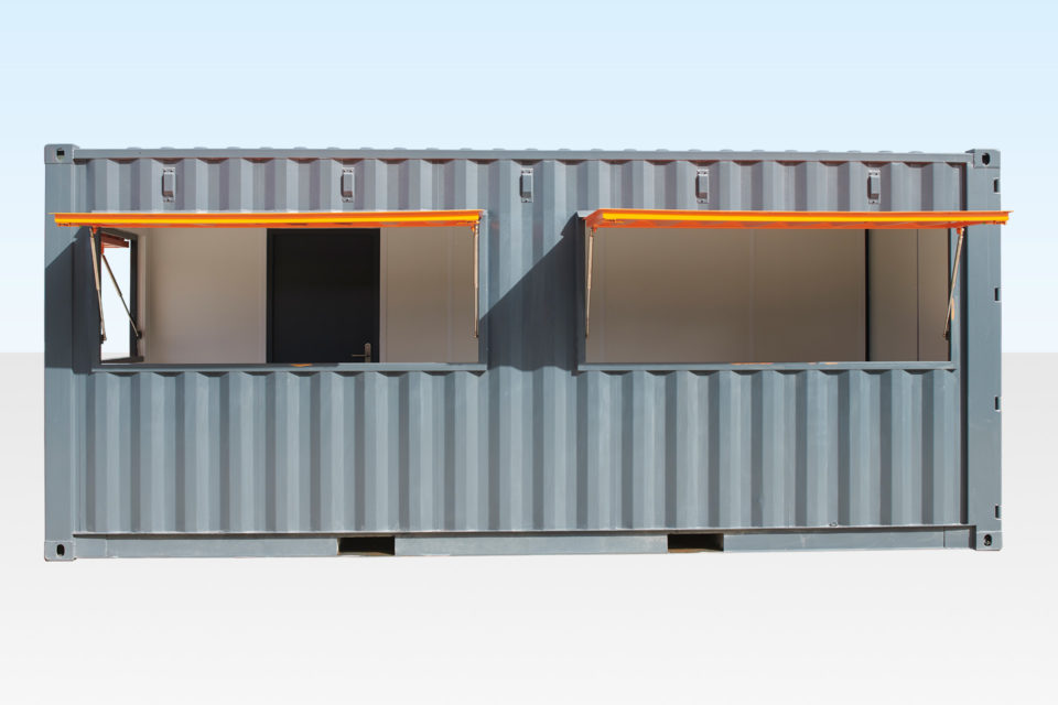 Container Cafe showing serving hatches open
