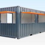 Container Cafe showing all 3 hatches open