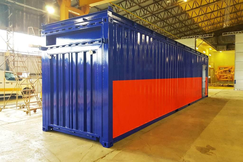 Converted container used for exhibitions
