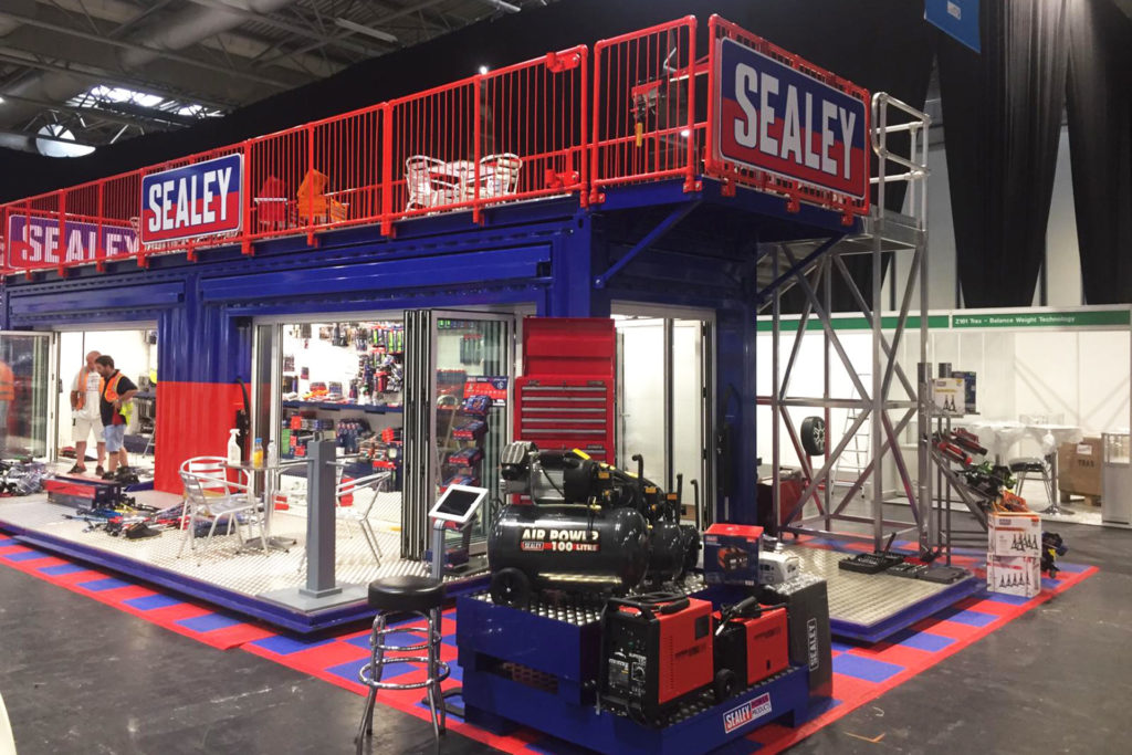 Exhibition stand from converted shipping container