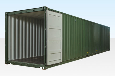 40ft Shipping Container Dark Green RAL 6007 Doors Open