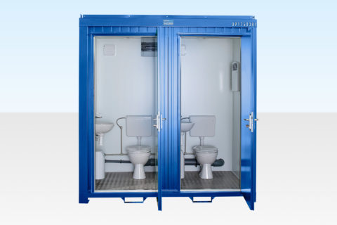Mains Site Double Toilet for Sale - Door Open - RAL 5010