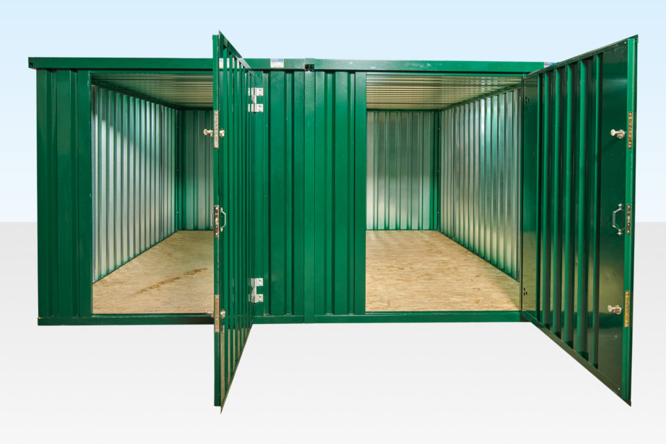 Two flat pack containers linked side by side (green)