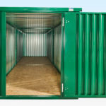 Tunnel view of end on end linked flatpack containers