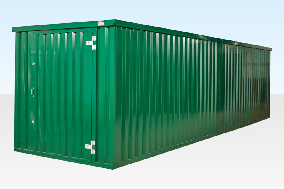 Exterior angle view powder coated flatpack containers linked end on end