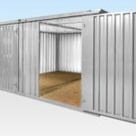 Galvanised Flat Pack Containers Linked Side by Side