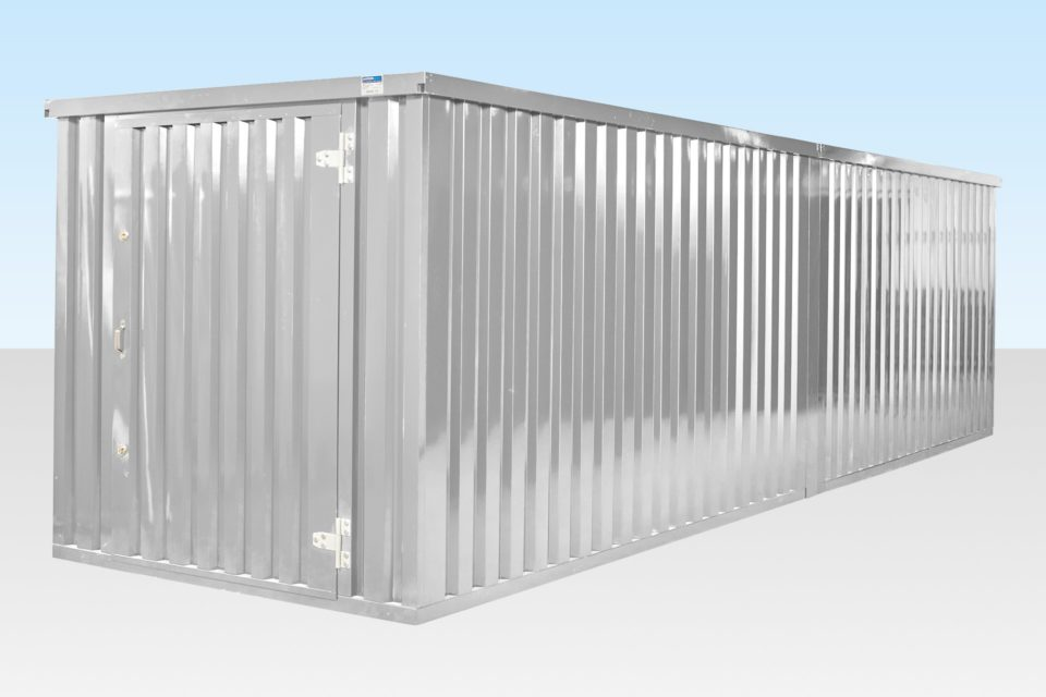 End on end linked flatpack containers - galvanised