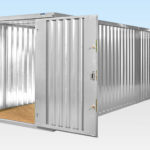 Flatpack Containers Linked End on End - Door Open - Galvanised Finish