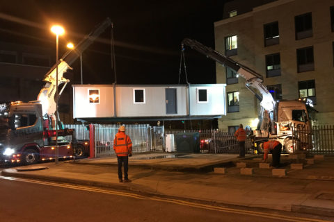 Overnight installation of twin linked jackleg cabins