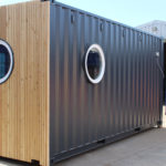 Rear view of converted cafe container