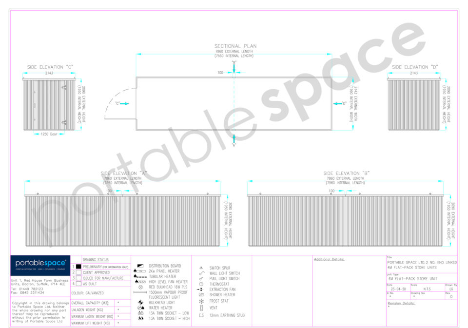 Layout Drawing 8m Flat Pack Store