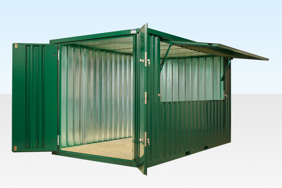 Flat Pack Kiosk with End Doors and Hatch Open