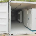 Container converted for housing power equipment