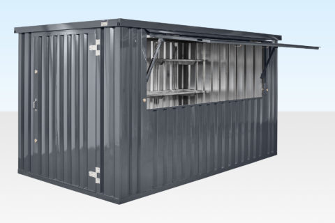 Flat Pack Kiosk with Hatch - Grey - RAL7015