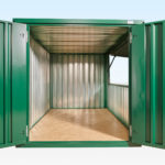 End View of Flat Pack Kiosk - Doors and hatch open