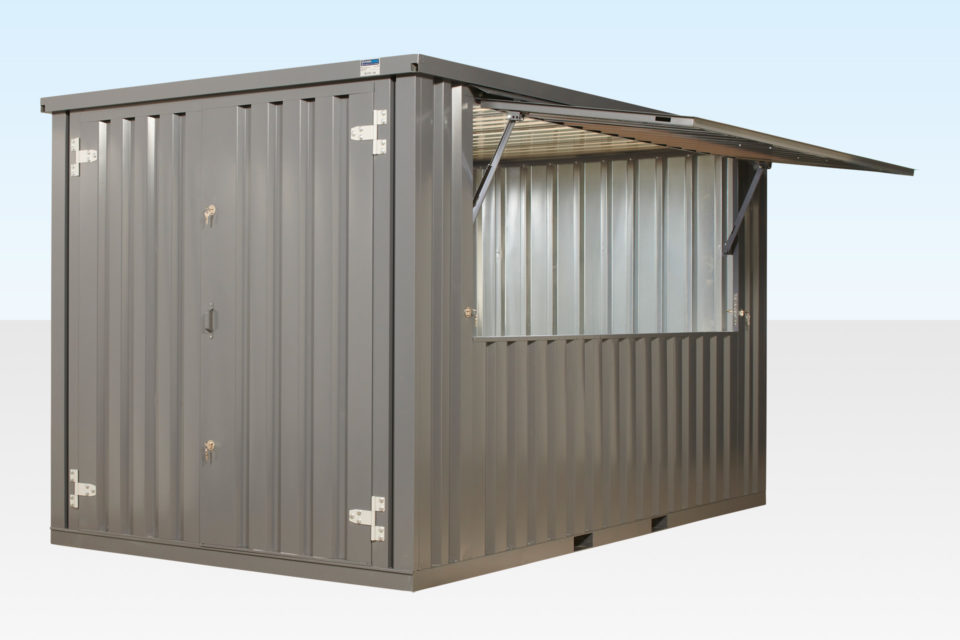 Flat Pack Kiosk (Grey) with Serving Hatch Open