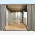 End view of grey flat pack kiosk doors and hatch open