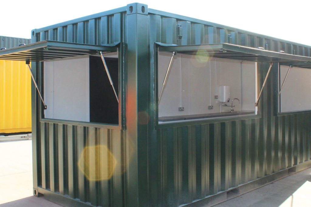 exterior of container coffee shop conversion