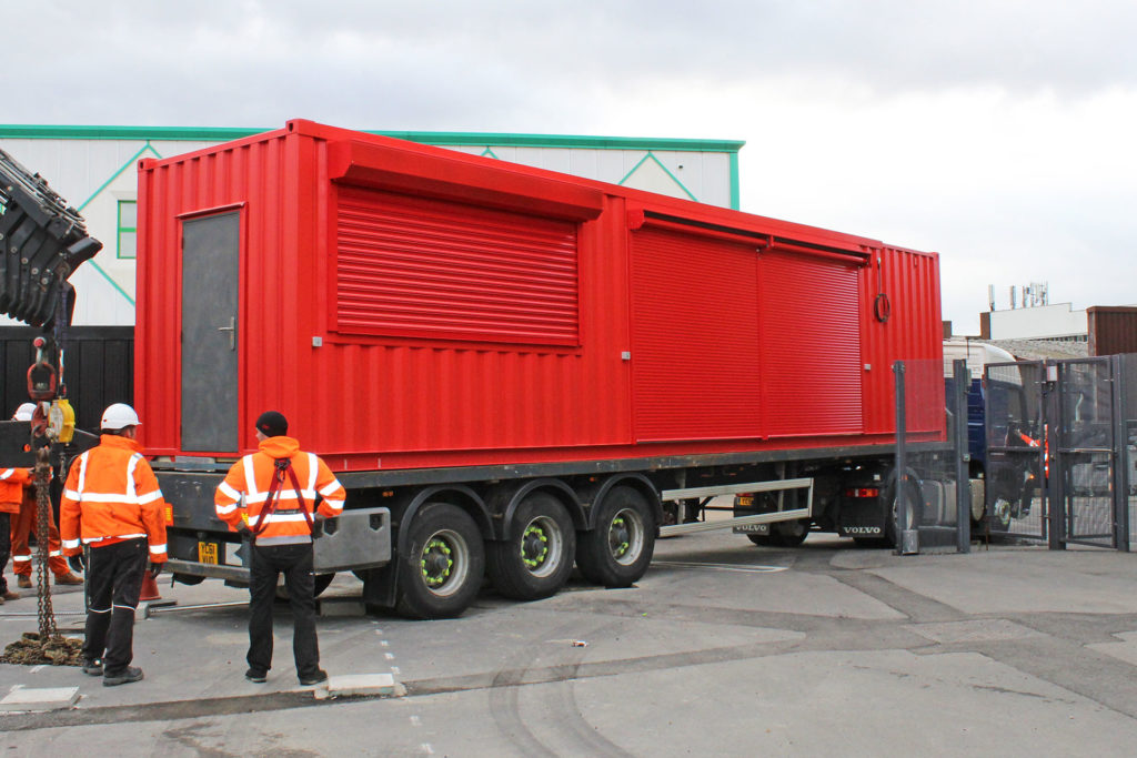 container bar being delivered to site