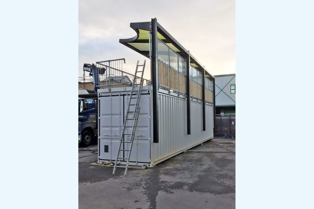 party roof added to converted container bar