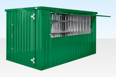 Flatpack food and drink serving kiosk - green - hatch open and shelving displayed