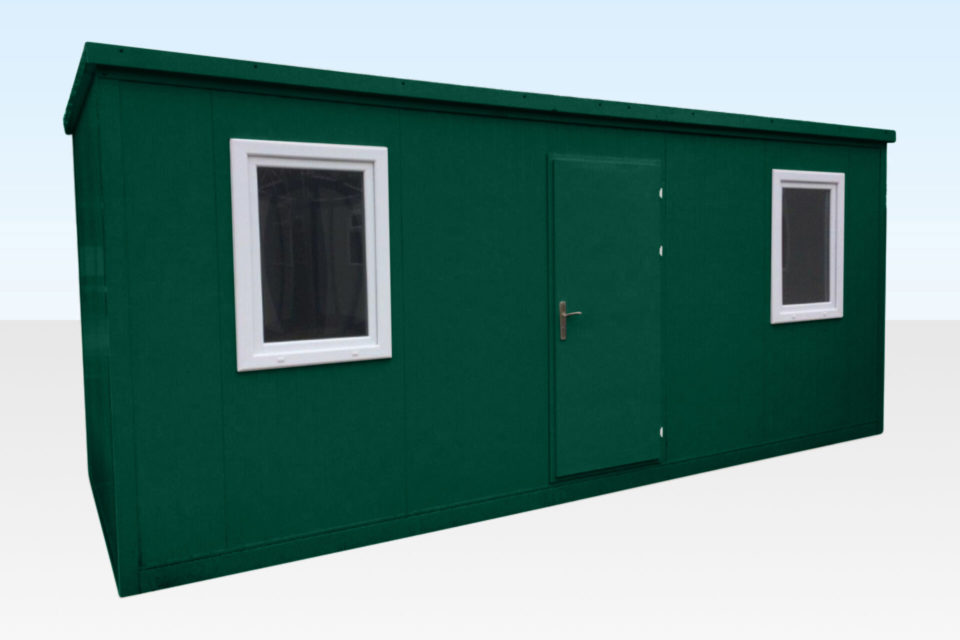 Flat Pack Office showing 2 windows and door