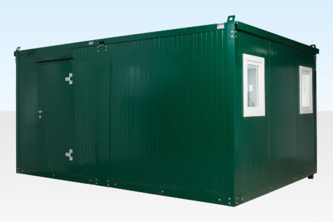 3.3m x 4.6m Side Linked Flat Pack Office Cabin - External View Door Closed